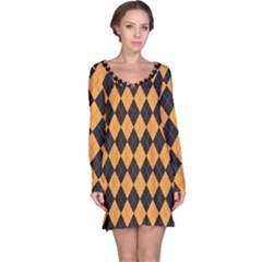 Plaid Triangle Line Wave Chevron Yellow Red Blue Orange Black Beauty Argyle Long Sleeve Nightdress