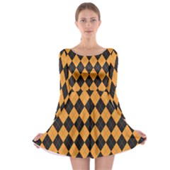 Plaid Triangle Line Wave Chevron Yellow Red Blue Orange Black Beauty Argyle Long Sleeve Skater Dress