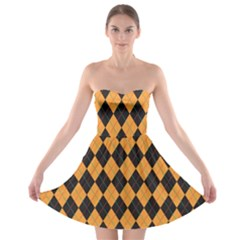 Plaid Triangle Line Wave Chevron Yellow Red Blue Orange Black Beauty Argyle Strapless Bra Top Dress