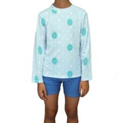 Star White Fan Blue Kids  Long Sleeve Swimwear