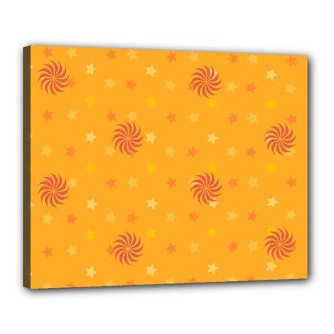 Star White Fan Orange Gold Canvas 20  X 16