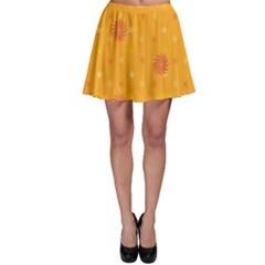 Star White Fan Orange Gold Skater Skirt