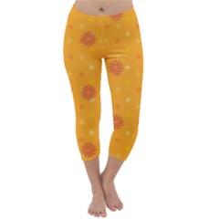 Star White Fan Orange Gold Capri Winter Leggings