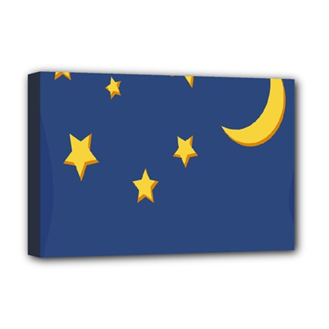 Starry Star Night Moon Blue Sky Light Yellow Deluxe Canvas 18  x 12