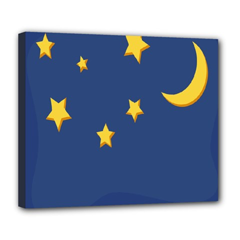 Starry Star Night Moon Blue Sky Light Yellow Deluxe Canvas 24  x 20