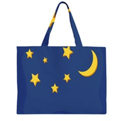 Starry Star Night Moon Blue Sky Light Yellow Large Tote Bag