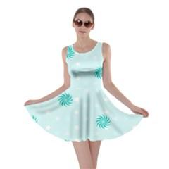 Star White Fan Blue Skater Dress