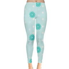 Star White Fan Blue Leggings