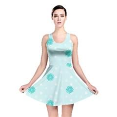 Star White Fan Blue Reversible Skater Dress