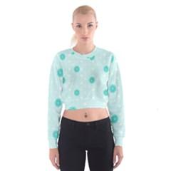 Star White Fan Blue Women s Cropped Sweatshirt