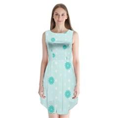 Star White Fan Blue Sleeveless Chiffon Dress