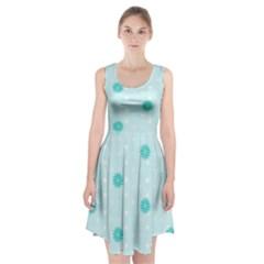 Star White Fan Blue Racerback Midi Dress