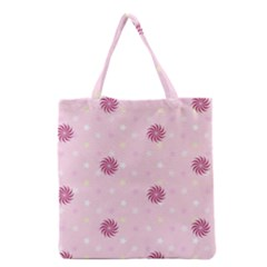 Star White Fan Pink Grocery Tote Bag