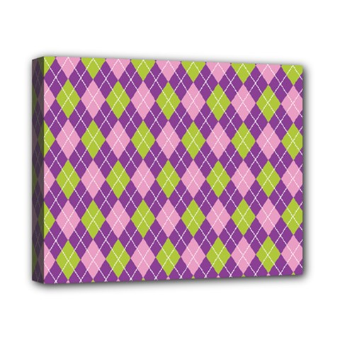 Plaid Triangle Line Wave Chevron Green Purple Grey Beauty Argyle Canvas 10  x 8