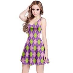 Plaid Triangle Line Wave Chevron Green Purple Grey Beauty Argyle Reversible Sleeveless Dress