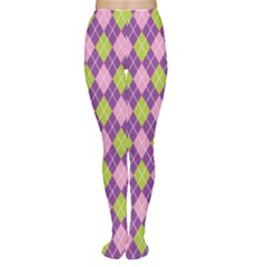 Plaid Triangle Line Wave Chevron Green Purple Grey Beauty Argyle Women s Tights