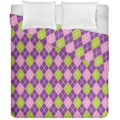 Plaid Triangle Line Wave Chevron Green Purple Grey Beauty Argyle Duvet Cover Double Side (california King Size)
