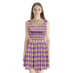 Plaid Triangle Line Wave Chevron Green Purple Grey Beauty Argyle Split Back Mini Dress