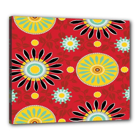 Sunflower Floral Red Yellow Black Circle Canvas 24  X 20