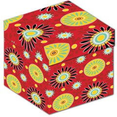 Sunflower Floral Red Yellow Black Circle Storage Stool 12