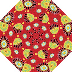 Sunflower Floral Red Yellow Black Circle Hook Handle Umbrellas (Small)
