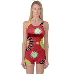 Sunflower Floral Red Yellow Black Circle One Piece Boyleg Swimsuit