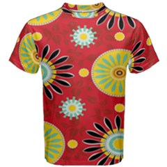 Sunflower Floral Red Yellow Black Circle Men s Cotton Tee