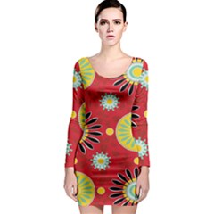 Sunflower Floral Red Yellow Black Circle Long Sleeve Bodycon Dress