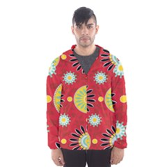 Sunflower Floral Red Yellow Black Circle Hooded Wind Breaker (Men)