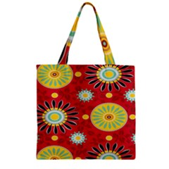 Sunflower Floral Red Yellow Black Circle Zipper Grocery Tote Bag