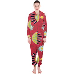 Sunflower Floral Red Yellow Black Circle Hooded Jumpsuit (Ladies)