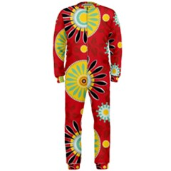 Sunflower Floral Red Yellow Black Circle OnePiece Jumpsuit (Men)