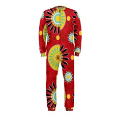 Sunflower Floral Red Yellow Black Circle OnePiece Jumpsuit (Kids)