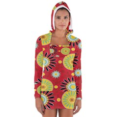 Sunflower Floral Red Yellow Black Circle Women s Long Sleeve Hooded T-shirt