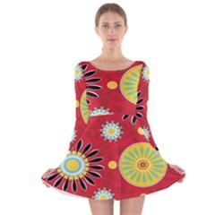 Sunflower Floral Red Yellow Black Circle Long Sleeve Velvet Skater Dress