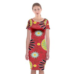 Sunflower Floral Red Yellow Black Circle Classic Short Sleeve Midi Dress