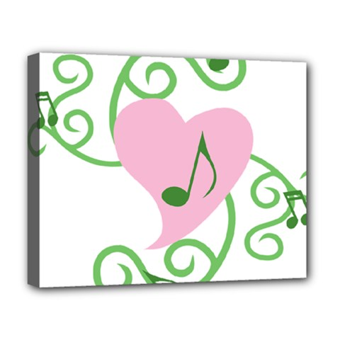 Sweetie Belle s Love Heart Music Note Leaf Green Pink Deluxe Canvas 20  x 16