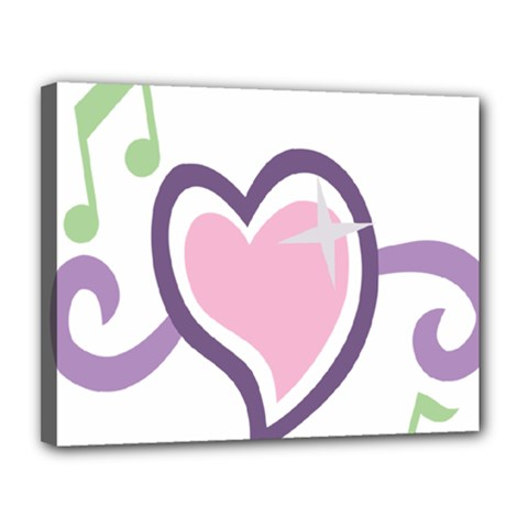 Sweetie Belle s Love Heart Star Music Note Green Pink Purple Canvas 14  x 11