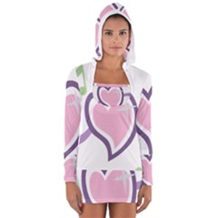 Sweetie Belle s Love Heart Star Music Note Green Pink Purple Women s Long Sleeve Hooded T-shirt