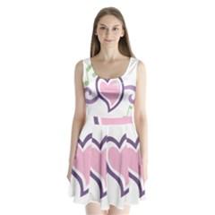 Sweetie Belle s Love Heart Star Music Note Green Pink Purple Split Back Mini Dress