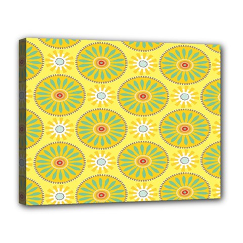 Sunflower Floral Yellow Blue Circle Canvas 14  X 11