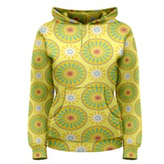 Sunflower Floral Yellow Blue Circle Women s Pullover Hoodie