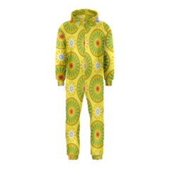 Sunflower Floral Yellow Blue Circle Hooded Jumpsuit (Kids)