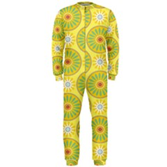Sunflower Floral Yellow Blue Circle Onepiece Jumpsuit (men)