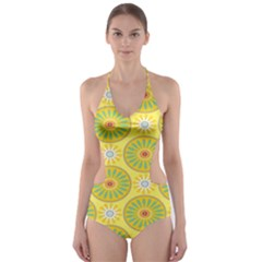 Sunflower Floral Yellow Blue Circle Cut-Out One Piece Swimsuit