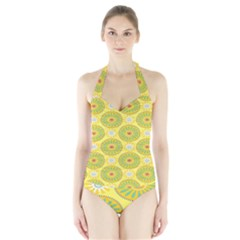 Sunflower Floral Yellow Blue Circle Halter Swimsuit