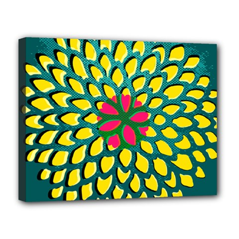 Sunflower Flower Floral Pink Yellow Green Canvas 14  x 11