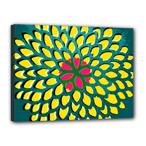 Sunflower Flower Floral Pink Yellow Green Canvas 16  x 12
