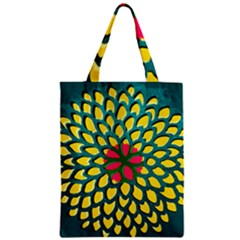 Sunflower Flower Floral Pink Yellow Green Zipper Classic Tote Bag