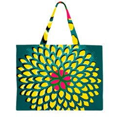 Sunflower Flower Floral Pink Yellow Green Large Tote Bag